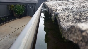 Water pooling in gutters