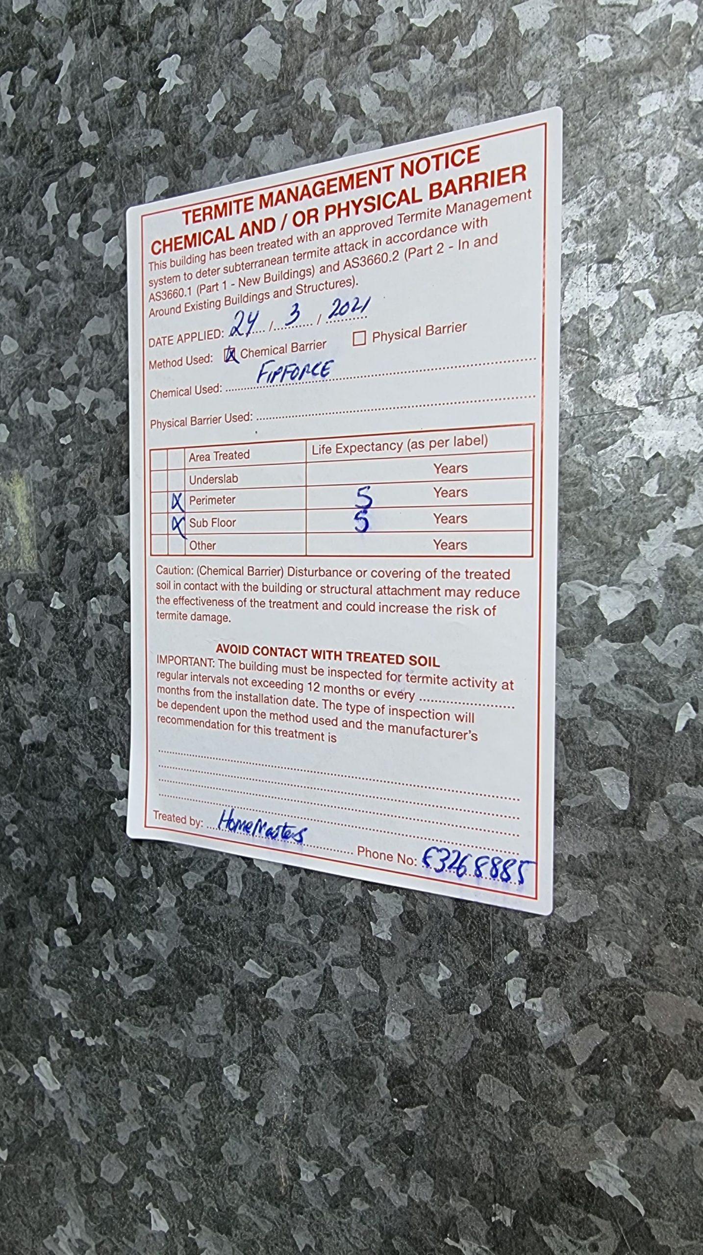 Example termite management notice